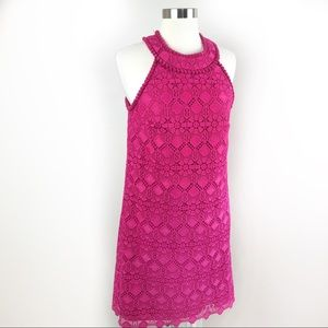 NWT Trina Turk Magenta Halter Neck Lace Dress, 8